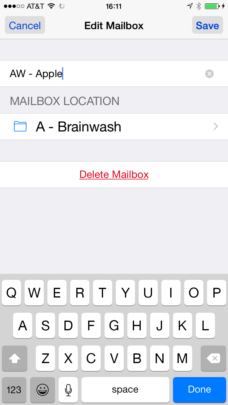 how to delete folders in yahoo mail on iphone